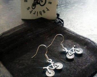 Bicycle Earrings Lovely Gift for Cyclists or Rider Present Ear Beautiful Silver plated wires suitable for pierced ears alloy charm