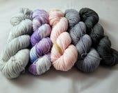 "Hand Dyed Sock Yarn, Superwash Merino/Nylon Blends, Joji Starting Point MKAL Kit ""Whispy Boots"" DYED to ORDER"