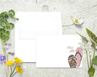 Summer Stationery, Summer Note Cards, Flip Flops Stationery, Beach Notecards, Personalized Note Cards, Stationary Set, Thank You Cards