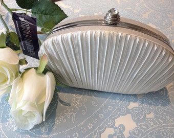 Ivory White Pleated Satin Oval Clutch Bag Evening Purse