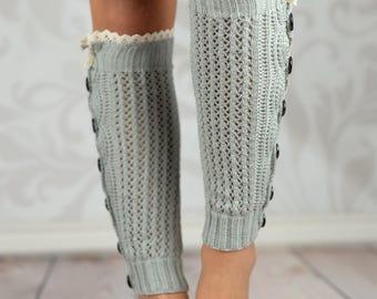 Light Gray Crochet Button Leg Warmers With Lace Rim