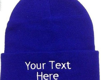 Custom Embroidery (Personalized) Embroidered Name Beanie Knit Cap with cuff-Royal Blue
