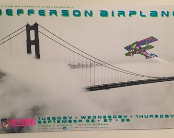 Vintage, Original Jefferson Airplane Poster, Sept. 26 - 28, 1989 The Fillmore, San Francisco. Jefferson Airplane Reunion show. Very cool.