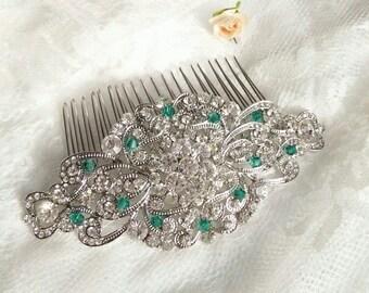 Big Wedding silver emerald hair comb, Emerald comb, Emerald hair piece, Emerald bridal hair comb, Vintage styled wedding, Green wedding 26
