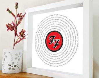 Foo Fighters - Everlong framed song lyrics – Framed print in black or white box frame - Gift for him - Gift for her - Father's Day