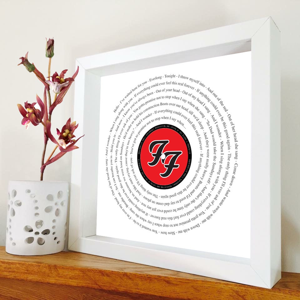 Cosmetics black leather gloves lyrics - Foo Fighters Everlong Framed Song Lyrics Framed Print In Black Or White Box Frame Gift For Him Gift For Her Birthday Gift