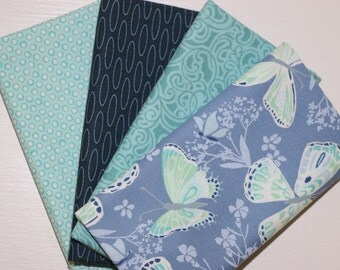 SALE - 4 Fat Quarters - teal and navy - cotton fabric