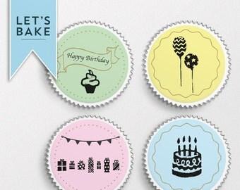 Happy Birthday,edible cupcake topper,cake topper,edible,birthday cake topper,birthday cupcake topper, birthday,personalised birthday cake
