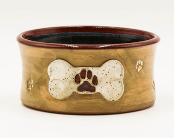 Red & Blue Dog Bone and Paw Print Dog Bowl | Pottery | Ceramic | Stoneware | Pottery Dog Bowl | Ceramic Dog Bowl | Stoneware Dog Bowl