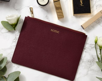 Saffiano Leather Burgundy Pouch Monogram Personalised