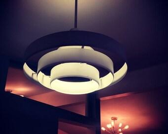 Mid Century Modern Art Deco Industrial Saturn Ring Ceiling Light Retro 1950's Curt Versen