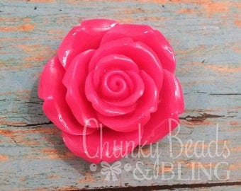 1pc. 42mm Hot Pink Flower Focal Bead