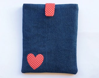 Denim Kindle Cover/ eReader Case - With Red Polka Dot heart, clasp and lining - Gift for her - Can be customised to fit any tablet/ e-reader