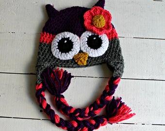 Crocheted Owl Hat, Girl Owl Hat, Crochet Girl Owl Hat, Baby Owl Hat, Baby Girl Owl Hat, Crochet Baby Hat, Baby Shower Gift, Owl Hat