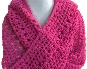 Pink Scarf, Crocheted Scarf, Cotton Scarf, Lace Scarf, Infinity Scarf, Hot Pink Scarf, Circle Scarf, women's Accessories, Gift for Her