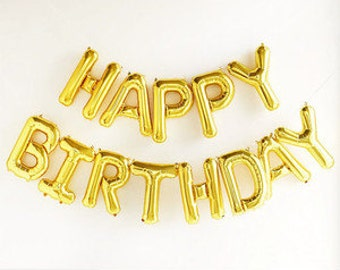 16 inch HAPPY BIRTHDAY Balloons, GOLD or Silver Mylar Letter Balloons, Photo Prop, birthday party, birthday