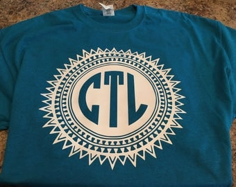 Monogram tribal tshirt.  Aztec monogram.  Sun Circle monogram tshirt.  Great for any occasion.