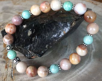 Morocco Agate & Amazonite Stretch Bracelet! Premium Bead Healing Bracelet! Natural Healing Jewelry Meditation Metaphysical