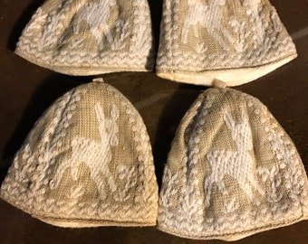 Set of Four Vintage Boiled Egg Covers Cosies  Beautiful and very Elegant Linen