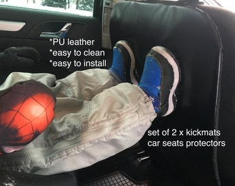 2 Car Kick mats Free shipping | Leather kick mats | Car Seats back cover | Dirty shoes protection | Car Seat Protectors | Auto seat cover