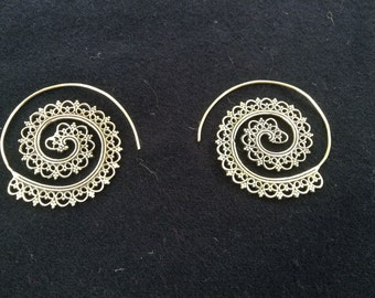 Heart brass spiral earrings