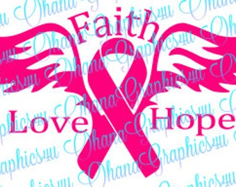 Faith, Love, Hope Breast Cancer Ribbon with Wings SVG