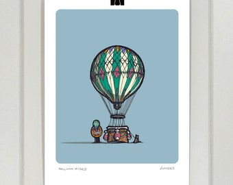 Hot Air Balloon A4 print | Day and Night | Fairground | Vintage | Illustration | Drawing