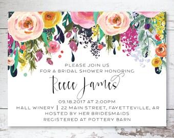 Bridal Shower, Floral Bridal Shower Invitations, Bridal Invitations, Floral Bridal Invites, Shower Invitations, Modern Floral Invitations