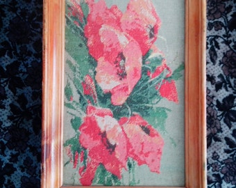 Papavers, Embroidered Picture, Hand Embroidered Art, Home design, Cross-stitch, NOT FRAMED