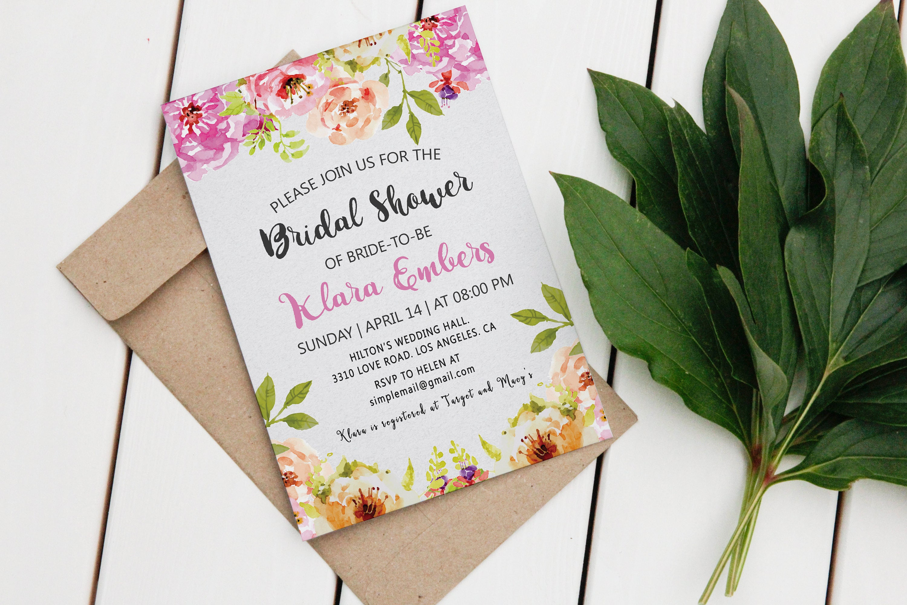 DIGITAL Floral BRIDAL SHOWER Invitation Card, Printable Bridal ...