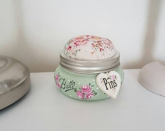 Hand Painted Pin Cushion Mason Jar With  Complementing Fabric
