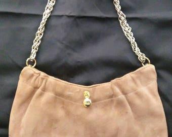 Vintage Ande' Tan Suede handbag