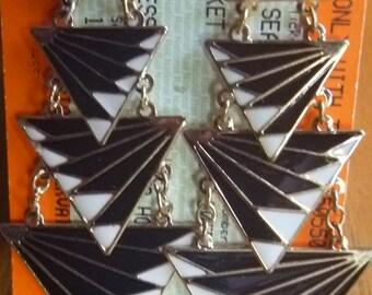 long black white and gold triangular dangle earrings, vintage dangle earrings