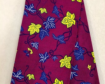 African Fabric - by the yard - Wax/Dutch - magenta, navy, yellow, white - leaf pattern