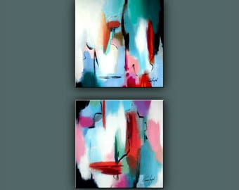 """SALE, Original Painting, Set of 2 Abstract Painting, Modern painting, Square Painting, Contemporary Art, Wall Decor 16""""x32"""" Ready to Hang"""