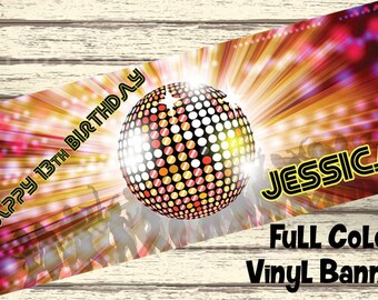 Retro 80s Disco Party Personalized Party Banner