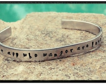 Hand Stamped Cuff - 'Not all who wander are lost' Quality Aluminum Cuff//Compass//Arrow - Bohemian Bracelet - Gift for Her
