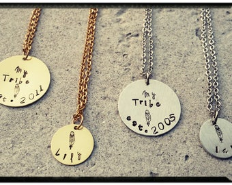 My Tribe Necklace - Silver or Gold - Child(ren) Names//Date Stamped Charm - Stainless Chain/Feather Stamp - Family Jewelry/Friend Jewelry