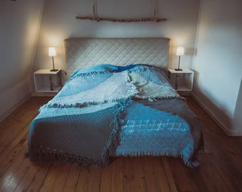 Designer ceiling quilt bed cover made from vintage knitting by TIPIYEAH Ocean Blue