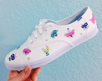 Painted Keds Shoes Custom Party Puppy Dog Crayon Teachers Nerdy Glasses Sneakers white Disney