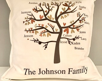 Family Tree Cushion, Personalised Family Tree,  Family Print, Mothers Day Gift, Wedding Gift, Family Tree Pillow, Family Tree Frame