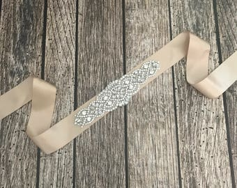 Tan sash, light gold sash,wedding sash, rhinestone wedding sash, all white sash, wedding belt, simple wedding sash, white sash
