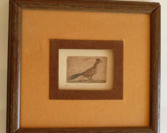 "Original Signed and Framed Miniature Etching - Mary Lehman - ""Roadrunner"" - Artist's Proof"