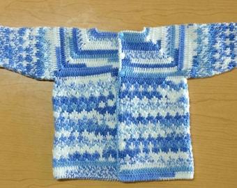 Handmade crochet baby coat, baby boy coat, baby boy crochet get jacket