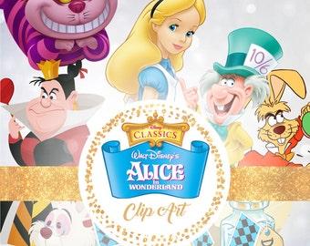 Alice in Wonderland Clipart - Digital 300 DPI PNG Images, Photos, Scrapbook, Digital, Cliparts - Instant Download