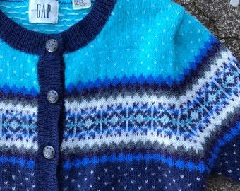 vintage wool sweater, fair isle nordic cardigan, cropped wool sweater, blue wool cardigan, birds eye sweater, womens