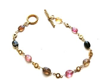 Tourmaline Bracelet--Pink Tourmaline Bracelet--Yellow Tourmaline Bracelet--Brown Tourmaline Bracelet--Multi Color Tourmaline Bracelet