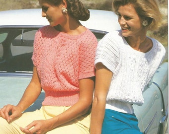 Vintage Ladies Summer Tops Knitting Pattern.
