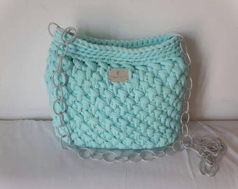Shoulder bag with silver chain aquamarine