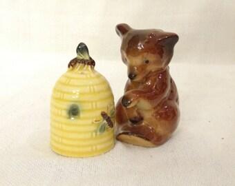 Vintage Goebel Bear and Beehive Salt and Pepper Shakers